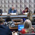 O presidente da CDH, Paulo Paim (2º à esq.), na audiência com Tiago Kidrick, Adriana Stella e Ogib Filho. Foto: Geraldo Magela - Agência Senado
